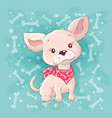 cute cartoon little dog little puppy hand vector image