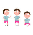 cute little boy standing sitting cartoon vector image