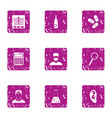 doctorate icons set grunge style vector image vector image