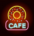 donut cafe logo neon light icon realistic style vector image