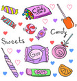 doodle candy various cartoon style vector image vector image