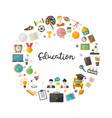 education icon set in circle in flat style vector image
