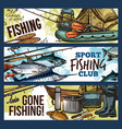 fishing banner with fisherman tackle and fish vector image vector image