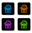 glowing neon house icon isolated on white vector image vector image