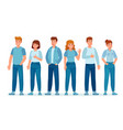 group people in jeans students in casual denim vector image