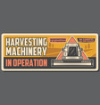 harvesting combine and farm machinery agriculture vector image