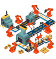 isometric design of automated processing plant vector image