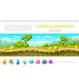 isometric game landscape web page template vector image