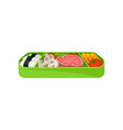 japanese food in green lunch box asian traditions vector image vector image