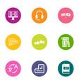 language school icons set flat style vector image