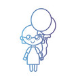 line girl with hairstyle design and balloons vector image vector image