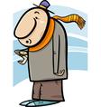 man look at watch cartoon vector image vector image