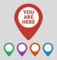 marker location icon with you are here text vector image vector image