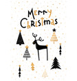 merry christmas card gold deer vector image vector image