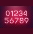neon numbers light typefont neon text vector image