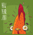 new year 2017 inscription and cock or rooster vector image vector image