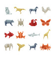 Origami paper animals asian creative art vector image