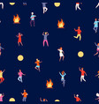 people dancing at night party pattern on nature vector image