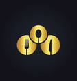 round spoon fork food gold logo vector image vector image
