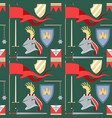 seamless medieval pattern with helmet flags vector image