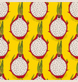 seamless pattern with dragon fruit or pitaya vector image vector image