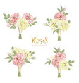 Set collection flowers roses on white background vector image