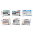 set isolated front page newspaper headline vector image