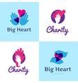 set of clean charity center logos Hospital vector image vector image