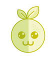 silhouette kawaii nice happy orange fruit vector image vector image