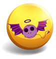 skull with wings on yellow badge vector image