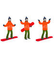 snowboarder in different poses vector image vector image