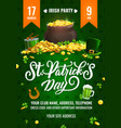 st patricks day party flyer cartoon poster vector image