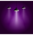 Three retro disco light sources with light ray vector image