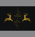 two golden reindeers merry christmas art deco vector image