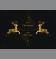two golden reindeers merry christmas art deco