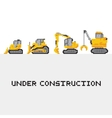 Under construction vehicles set in pixel vector image vector image