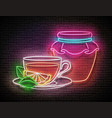 vintage glow signboard with glass tea pot cup vector image