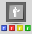 Waiter icon sign on original five colored buttons vector image vector image