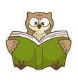 Wise owl with big round eyes reads book