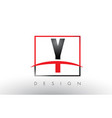 y logo letters with red and black colors and vector image vector image