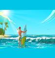 ocean beach athletic man vector image