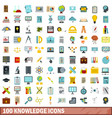 100 knowledge icons set flat style vector image vector image