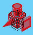 3d abstract isometric construction polygonal shape vector image vector image