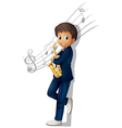 A musician holding a saxophone with musical notes vector image vector image