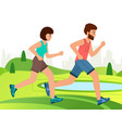 active people running distance in park cartoon vector image vector image
