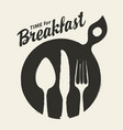 banner for breakfast time with cutlery vector image vector image
