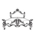 baroque bed line art ornamened decor designs vector image vector image