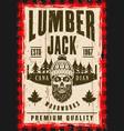 bearded skull of lumberjack in hat poster vector image