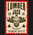 bearded skull of lumberjack in hat poster vector image vector image