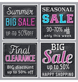 Black square banners with sale offer vector image